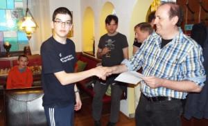 Siegerehrung Stadtmeisterschaft: Bester Jugendlicher Patrick Bossinger