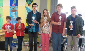 Die Sieger in Ulm v.l.n.r.: Nikolas Wildermuth (U10), Jan Philipp Rechner (U8), Patrick Bossinger (U18), Hannah Zell (U12), Philipp Lerche (U14) und Daniel Walter (U16)