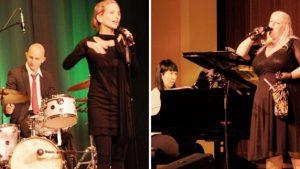 Ein begeisterndes Konzert mit Chansons, Klezmer, Revue und Kabarett präsentierten mit Gabriele Fischer-Berlinger (links) und Alexandra Jörg zwei ausgezeichnete Sängerinnen auf der Bühne der Illertisser Kollegs-Aula.
