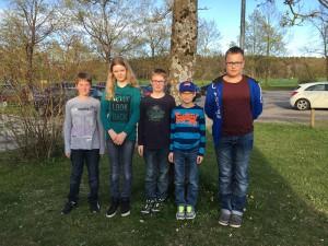 Die erfolgreiche Jedesheimer Mannschaft von links nach rechts: Max Grünwald, Hannah Zell, Max Rieger, Felix Rieger und Thomas Lang